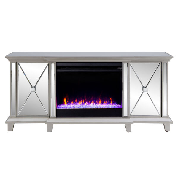 Toppington Mirror and silver Mirrored Electric Fireplace with Media Console, image 2