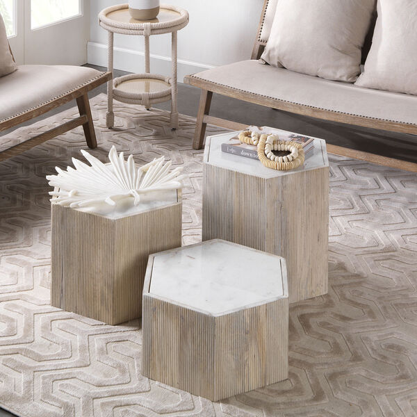 Argan Natural Wood and White Marble 18-Inch Hexagon Table, image 3