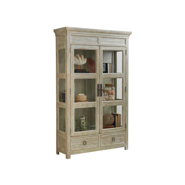Ocean Breeze Greeen and Taupe Sanctuary Curio China Cabinet, image 1