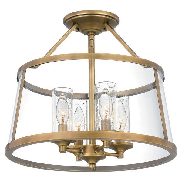 Barlow Weathered Brass Four-Light Semi-Flush Mount, image 1