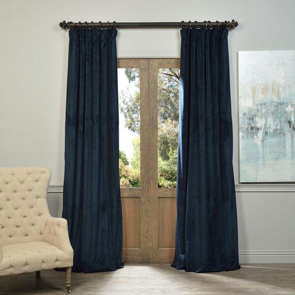 Signature Midnight Blue Blackout Velvet Pole Pocket Single Panel Curtain, 50 X 120, image 1