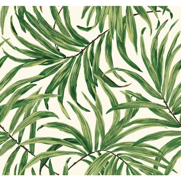 Ashford House Tropics White and Green Bali Leaves Wallpaper, image 1