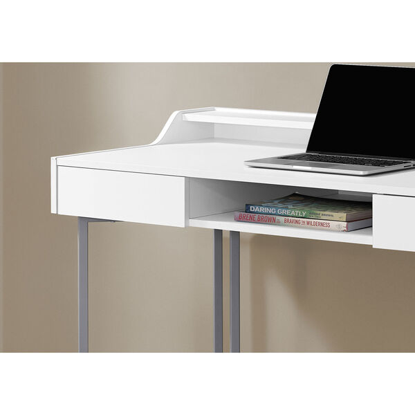 White and Silver 22-Inch Computer Desk with Three Open Cubbies, image 3