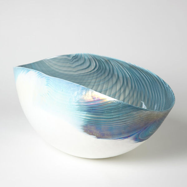 Ivory and Turquoise 16-Inch Feather Swirl Oval Bowl, image 1