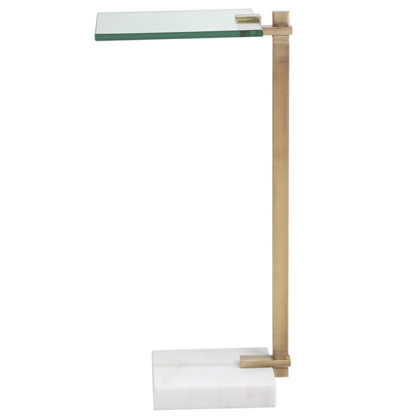 Butler Brushed Brass and White Accent Table, image 3