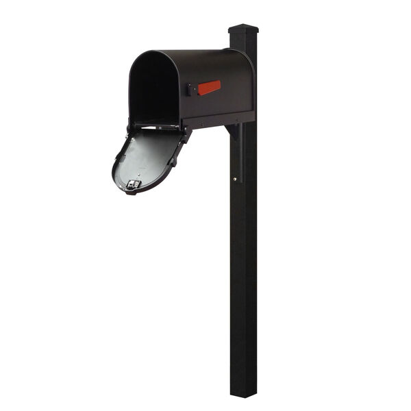 Savannah Curbside Black Mailbox and Wellington Direct Burial Mailbox Post Smooth, image 3