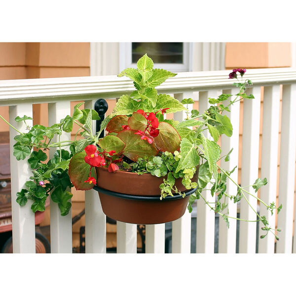 Black Powdercoat 8-Inch Flower Pot Ring, Set of Two, image 5
