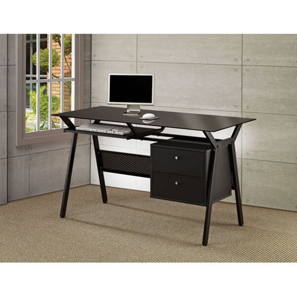 Black Metal and Glass Computer Desk with Two Storage Drawers, image 2