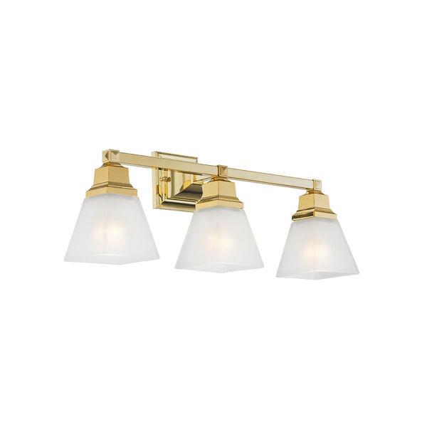 Mission Polished Brass 25.5-Inch Three-Light Bath Light, image 4