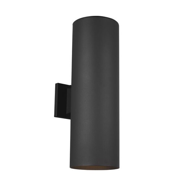 Cylinders Black Two-Light Outdoor Wall Sconce with Tempered Glass Shade Energy Star, image 2