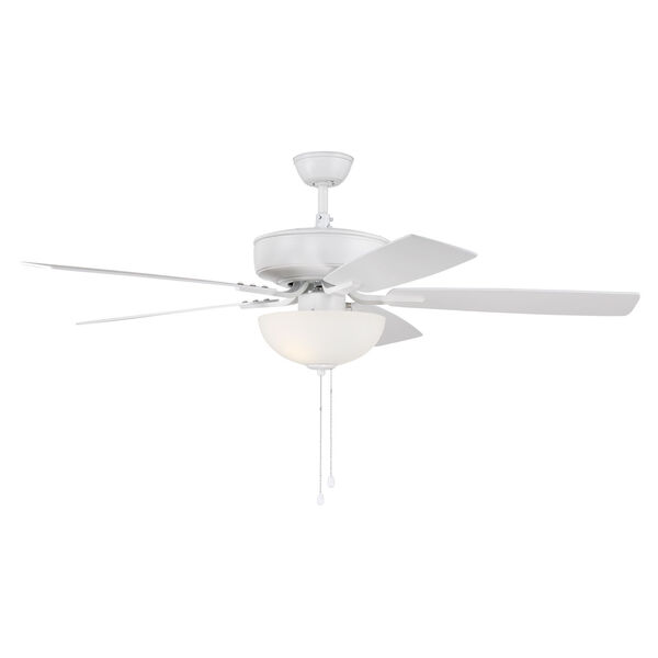 Pro Plus White 52-Inch Two-Light Ceiling Fan with White Frost Bowl Shade, image 3