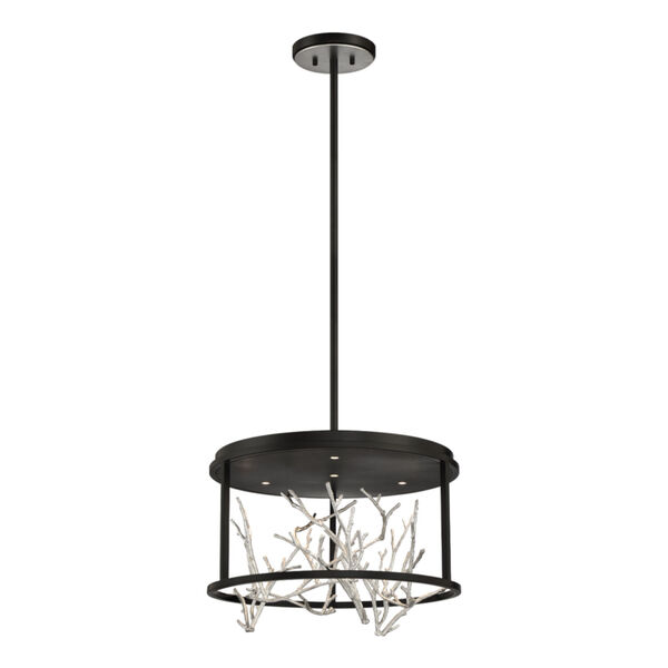 Aerie Black and Silver Four-Light Round LED Chandelier, image 1