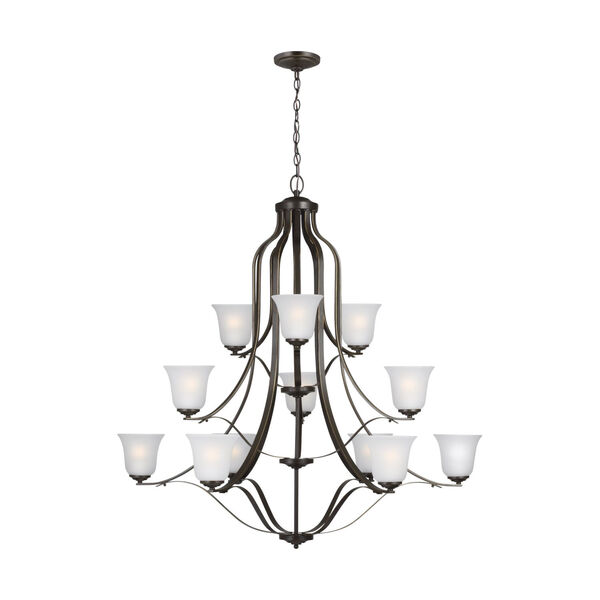 Emmons Heirloom Bronze 12-Light Chandelier with Satin Etched Shade, image 1