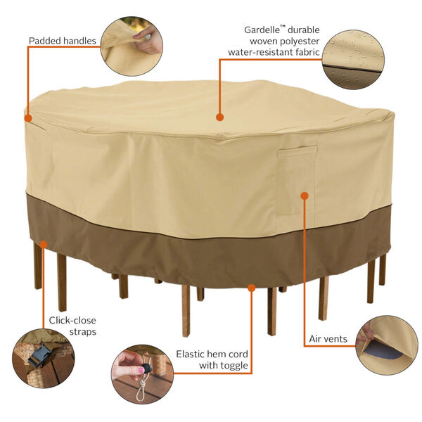 Ash Pebble and Bark Round Patio Table and Chair Set Cover, image 4