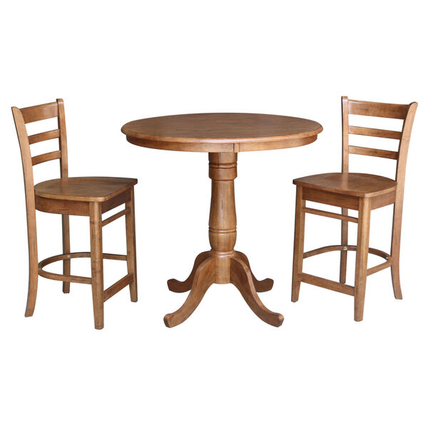 Emily Distressed Oak 36-Inch Round Top Pedestal Table with Two Counter Height Stool, Set of Three, image 2