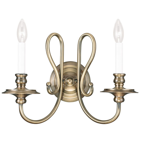 Caldwell Antique Brass 16-Inch Two-Light Bath Sconce, image 1