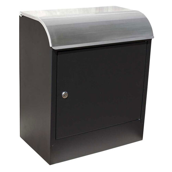 Selma Locking Mail and Parcel Box Black with Stainless Steel, image 1
