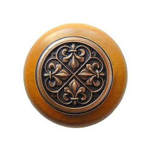 Maple Fleur-de-Lis Knob with Antique Copper, image 1