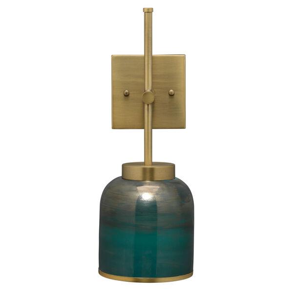 Vapor Antique Brass and Aqua Metallic Glass One-Light Wall Sconce, image 5