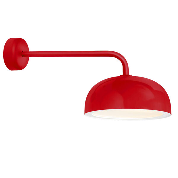 Dome Red One-Light 16-Inch Outdoor Wall Sconce with 18-Inch Arm, image 1