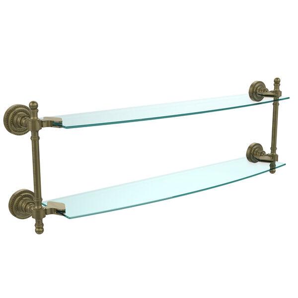 Retro Dot Antique Brass 24 Inch x 5 Inch Double Glass Shelf, image 1