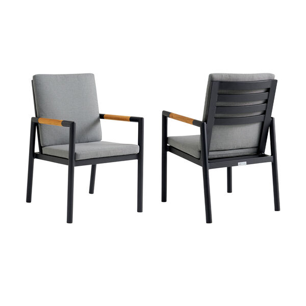Crown Black Outdoor Dining Chair, Set of Two, image 1