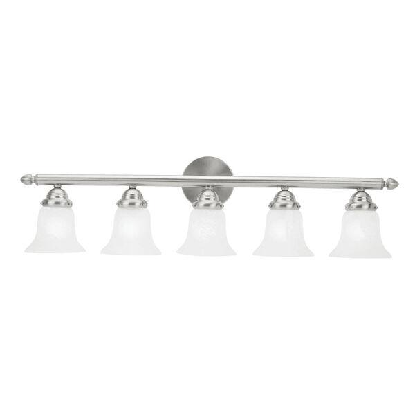 Home Basics Five-Light Brushed Nickel Bath Fixture, image 1