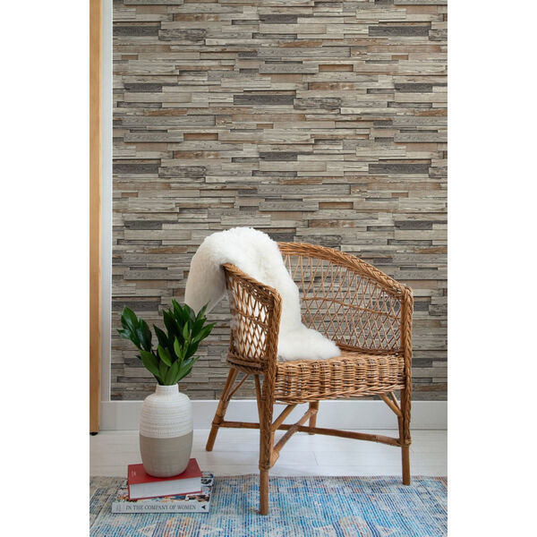 NextWall Brown Reclaimed Wood Plank Peel and Stick Wallpaper, image 6