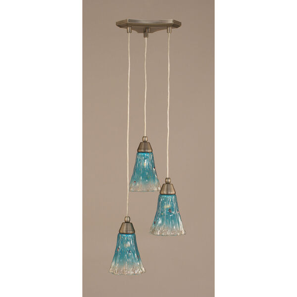 Europa Three-Light Multi Mini Pendant - Brushed Nickel Finish with 5.5 Inch Teal Crystal Glass, image 1