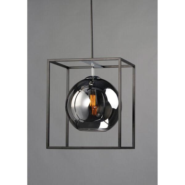 Fluid Black and Polished Chrome 15-Light LED Single Pendant, image 4
