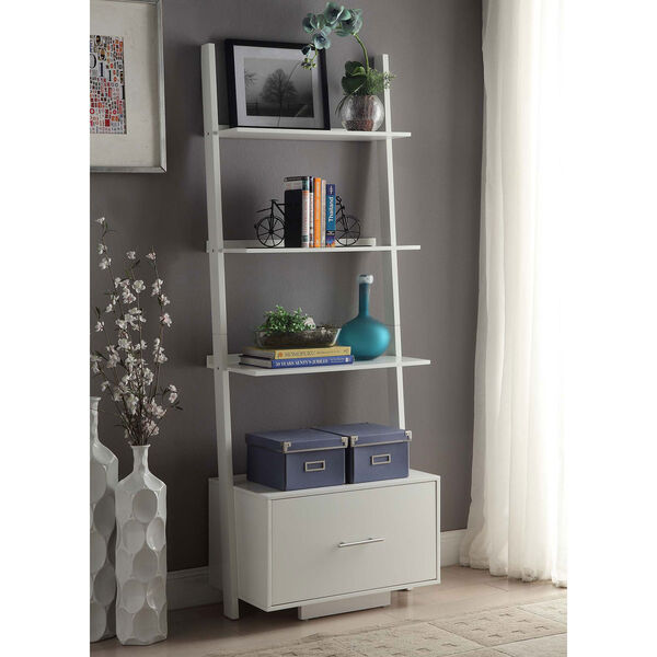 American Heritage White Ladder Bookshelf, image 3