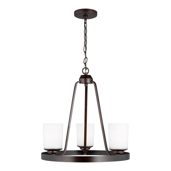 Kemal Bronze Three-Light Chandelier with Etched White Inside Shade, image 1