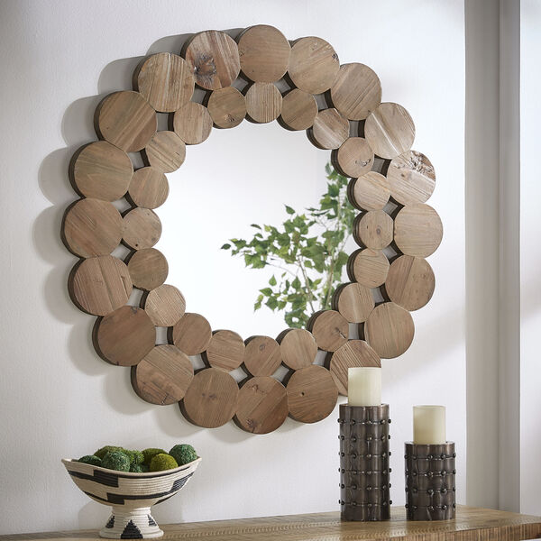 Katherine Natural Reclaimed Wood 39-Inch Round Wall Mirror, image 1