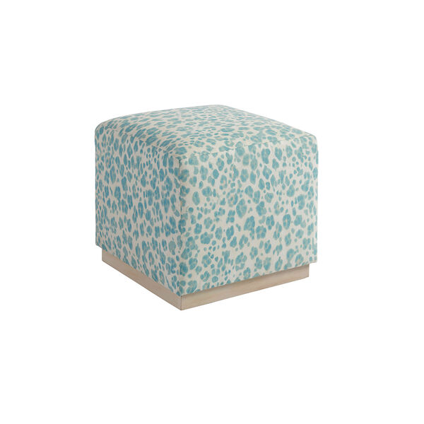 Upholstery Blue, Green and White Colby Ottoman, image 1