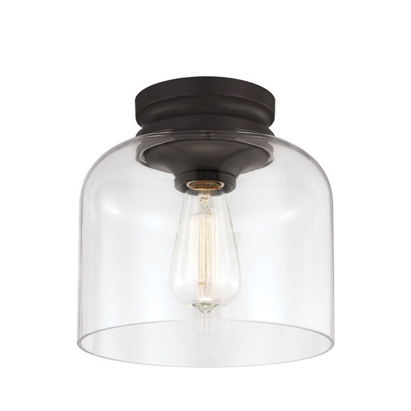 Hounslow Oil Rubbed Bronze One-Light Flush Mount with Clear Glass, image 1