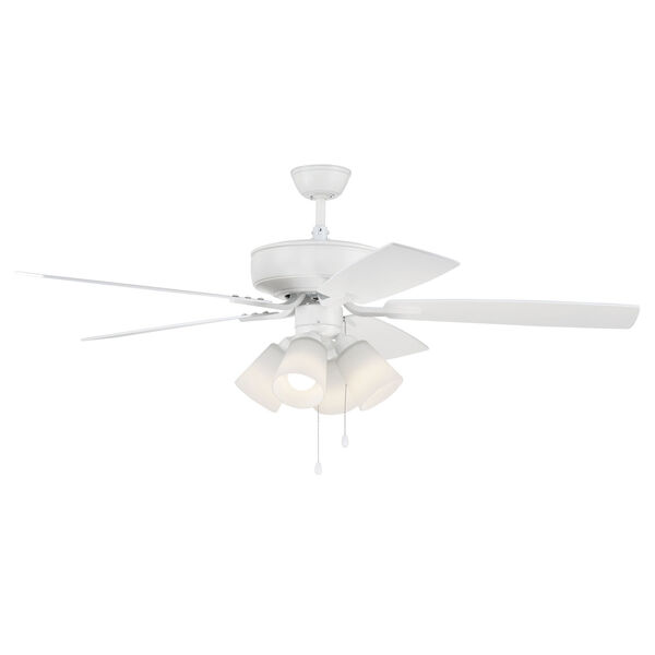 Pro Plus White 52-Inch Four-Light Ceiling Fan with White Frost Bell Shade, image 3