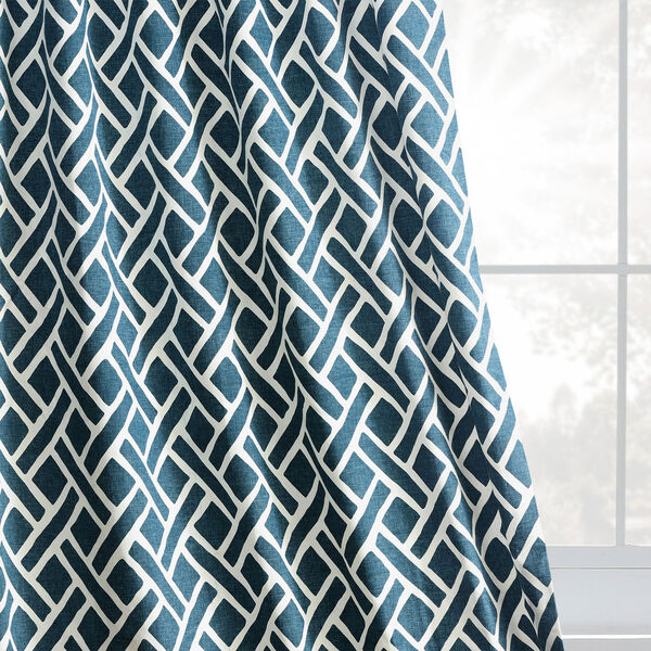 Navy Blue 120 x 50 In. Printed Cotton Twill Curtain Single Panel, image 8