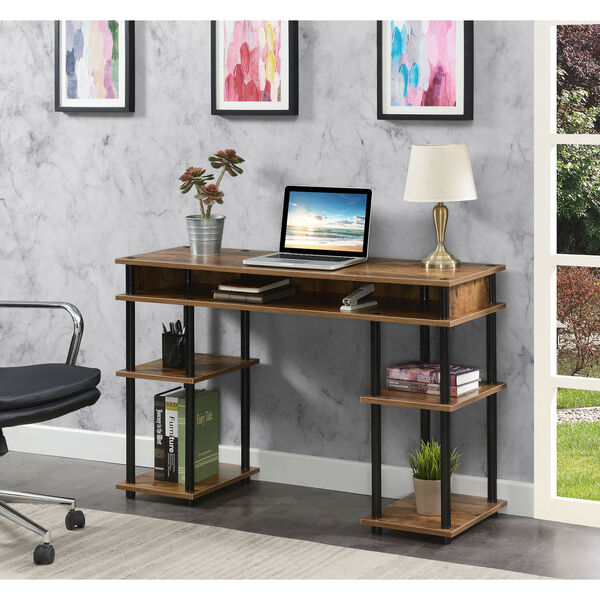 Designs2Go Barnwood Black No Tools Student Desk with Shelves, image 2