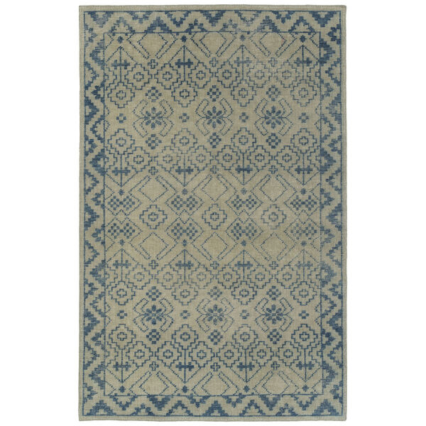 Knotted Earth Blue and Ivory 4 Ft. x 6 Ft. Area Rug, image 1