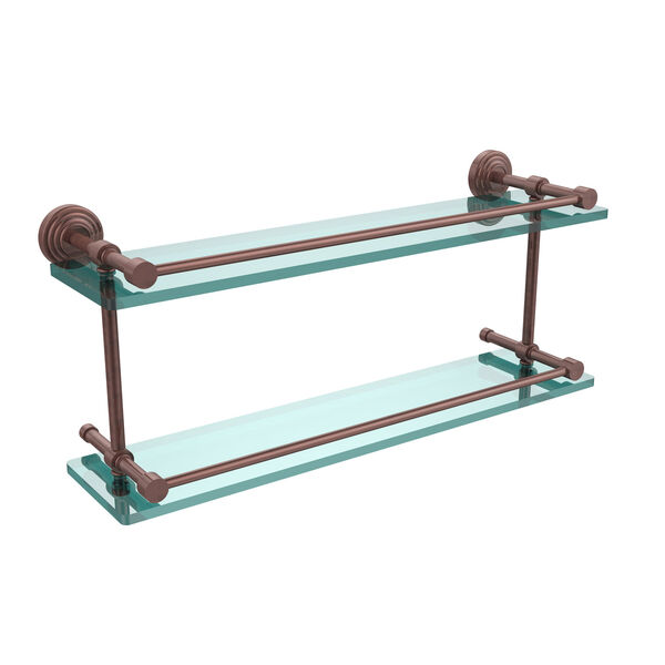 Waverly Place 22 Inch Double Glass Shelf with Gallery Rail, Antique Copper, image 1