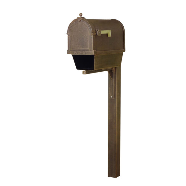 Berkshire Curbside Copper Mailbox with Newspaper Tube and Wellington Mailbox Post, image 1