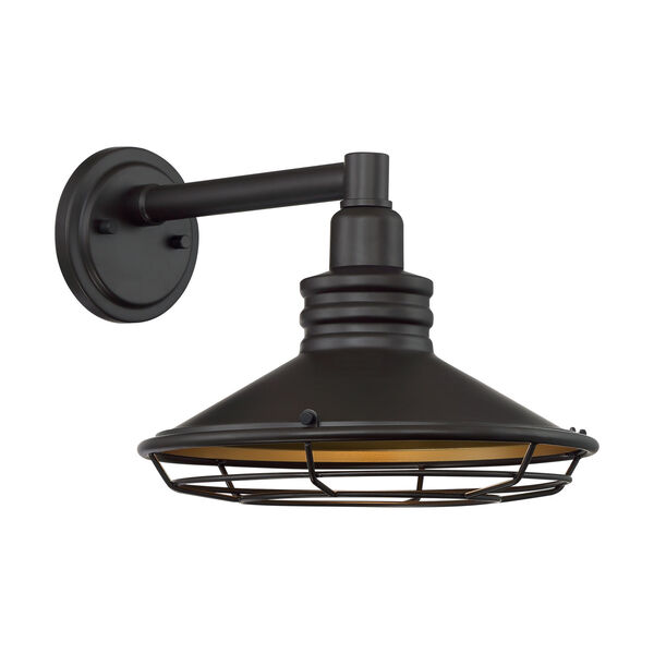 Blue Harbor Dark Bronze and Gold 12-Inch One-Light Outdoor Wall Mount, image 1