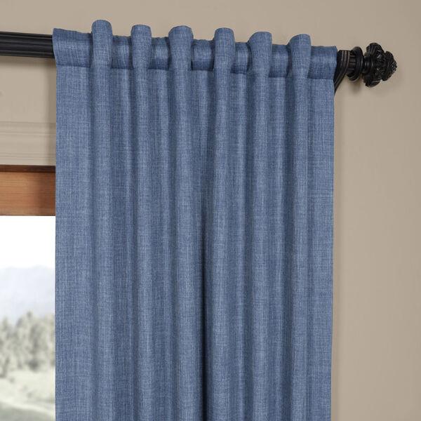 Blue Denim 96 x 50 In. Faux Linen Blackout Curtain Single Panel, image 4