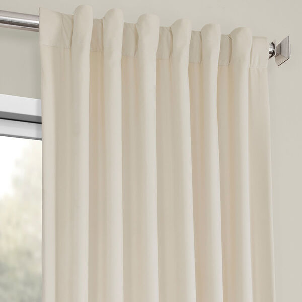 Ivory Heritage Plush Velvet Curtain Single Panel, image 4