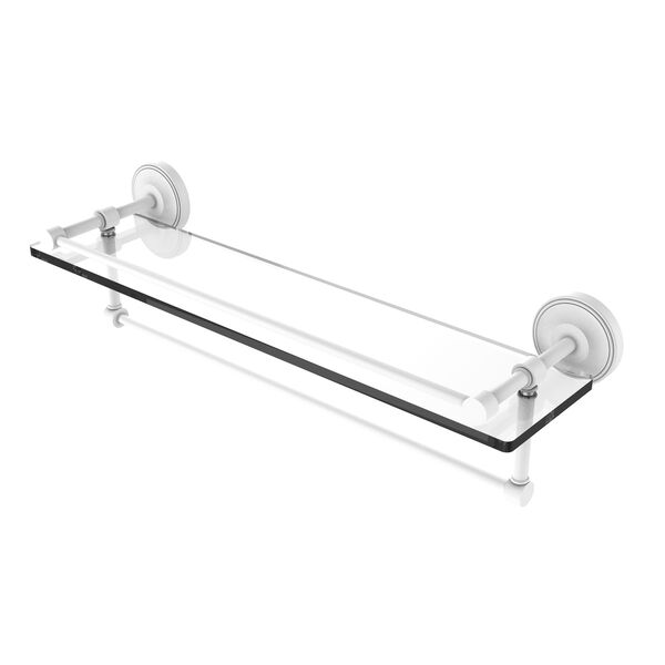Prestige Regal Matte White 22-Inch Glass Shelf with Towel Bar, image 1