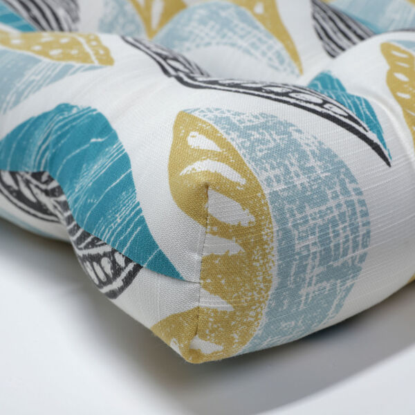 Leaf Block Teal and Citron 52-Inch Tufted Bench Cushion, image 2