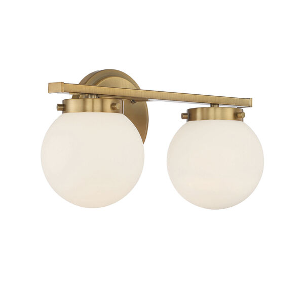 Cora Natural Brass Two-Light Bath Vanity with Opal Glass, image 4