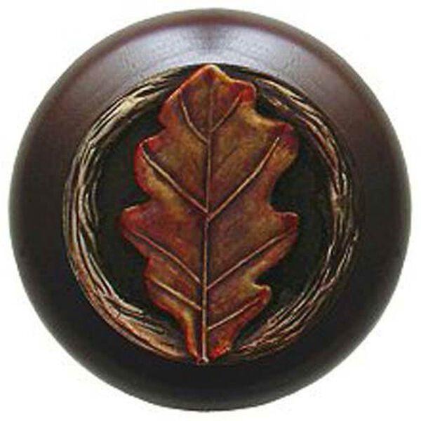 Dark Walnut with Hand Tinted Brass Oak Leaf Knob, image 1