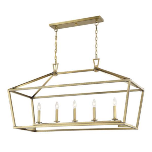 Anna Polished Brass 16-Inch Five-Light Pendant, image 4