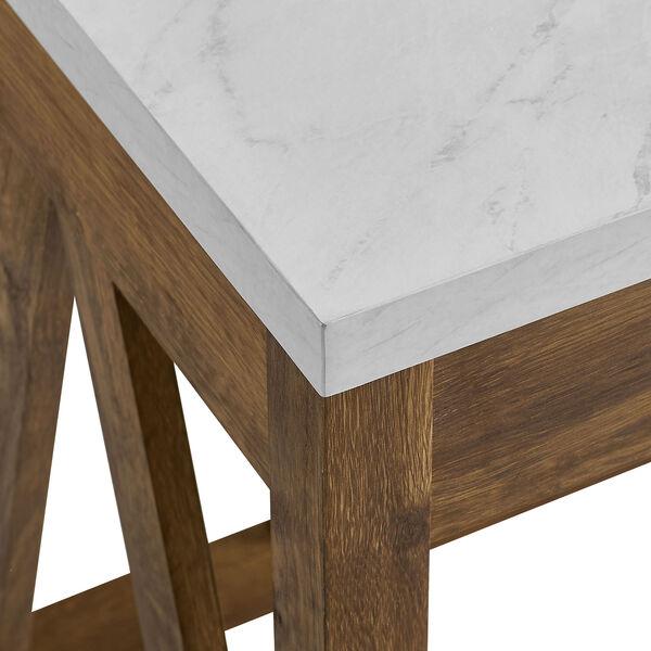 46-Inch A-Frame Desk, Natural Walnut Base/White Marble Top, image 3